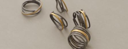 Χειροποίητα δίχρωμα ασημένια δαχτυλίδια