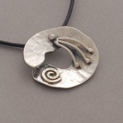 Spiral pendant, handmade hammered pendant in oxidized silver, gold spiral, M1054