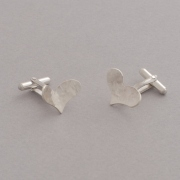 Heart sterling silver cufflinks, handmade gift for him or her MAN12