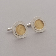 Round sterling silver cufflinks, topically gold plated, handmade gift for him or her MAN13