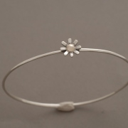 Ηandmade margarita bracelet in silver and gold, gold center, greek jewelry,B2133