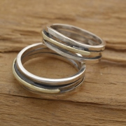 Couples Wedding Band Set, 5mm Width Rustic Silver and Gold Wedding Bands BE102