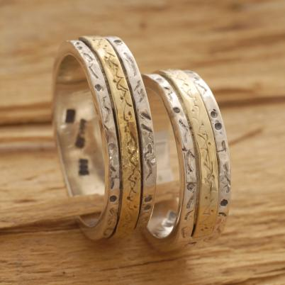 Handmade Gold and Silver Wedding Bands, His and Her Wedding Bands BE20