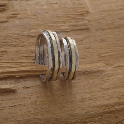 Couples Wedding Band Set, 5mm Width Rustic Silver and Gold Wedding Bands BE67