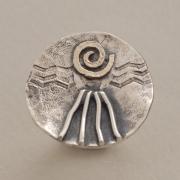 Σφυρήλατο κυματιστό ασημόχρυσο δαχτυλίδι με χρυσή σπείρα  D1518