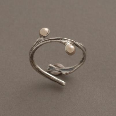 Χειροποίητο ασημόχρυσο δαχτυλίδι - κλαδί νεραντζιάς, με χρυσούς κόμπους, D1557