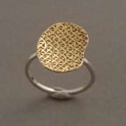 Χειροποίητο μοντέρνο δίχρωμο δαχτυλίδι από ασήμι και ασήμι επιχρυσωμένο D2025