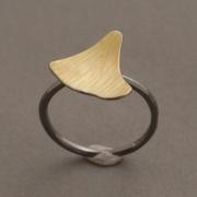 Χειροποίητο εμπνευσμένο δαχτυλίδι από ασήμι σε δύο αποχρώσεις D2031