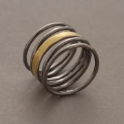 Χειροποίητο δίχρωμο δαχτυλίδι από ασήμι 925,  D2034