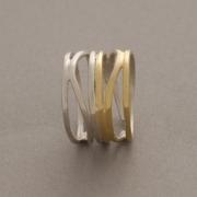 Χειροποίητο στυλάτο δαχτυλίδι από ασήμι και ασήμι επιχρυσωμένο D2035