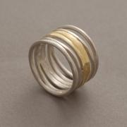 Χειροποίητο μοντέρνο δίχρωμο δαχτυλίδι από ασήμι D2041