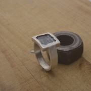 Handmade sterling silver ring, oxidized mens ring  DA112