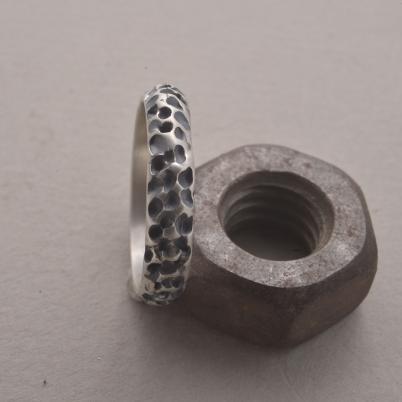 Χειροποίητο ασημένιο δαχτυλίδι, εμπνευσμένο από πετρώματα, DA140