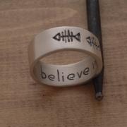 Aνδρικό δαχτυλίδι από ασήμι ματ και οξειδωμένο, εναλλακτική βέρα,  DA45