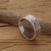 Aνδρικό δαχτυλίδι από ασήμι οξειδωμένο και λουστράτο,  εναλλακτική βέρα DA47