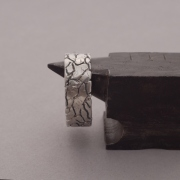 Organic Texture Sterling Silver Ring for him DA67