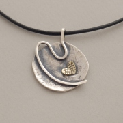 Handmade silver and gold pendant, gold heart, black cord M1307