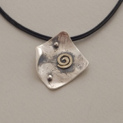 Rhomb greek pendant, handmade silver and gold spiral pendant, gold spiral M1308