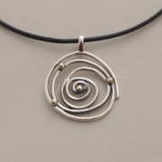 Handmade silver and gold spiral pendant, gold bullets, M1311