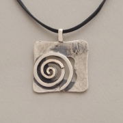 Handmade square silver and gold pendant, double spiral, M1320