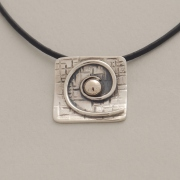 Handmade square silver and gold spiral pendant, gold bullet, M1329