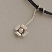 Handmade silver and gold flower pendant, black cord, nature inspired jewelry M1353