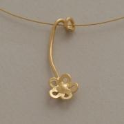 Χειροποίητο μενταγιόν λουλουδάκι από ασήμι επιχρυσωμένο Μ2483x