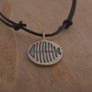 Modern necklace, handmade fish pendant in sterling silver, primitive collection, MA110