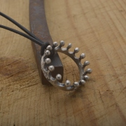 Mens crown pendant in oxidized silver, handmade greek jewelry MA135