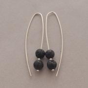 Χειροποίητα σκουλαρίκια με λάβα σε ασημένιο γάντζο, S1321
