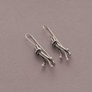 Handmade dangles, twist earrings in oxidized silver, S1501