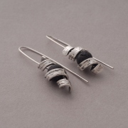 Sterling silver earrings, oxidized with lava, S1503