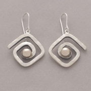 Meander hook earrings, handmade silver and gold meander earrings, gold bullet, greek earrings S2225