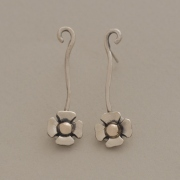 Handmade silver and gold drop flower earrings, nature inspired jewelry S2383