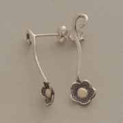 Handmade silver and gold drop flower earrings, nature inspired jewelry S2389