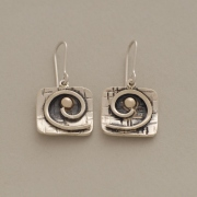 Handmade square dangles, silver and gold spiral earrings, gold bullet S2393