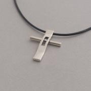 Cross necklace, minimal unisex silver cross necklace, handmade cross in black cord ST373