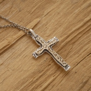 Double sterling silver and gold cross necklace, Unisex Double Religious Pendant ST591