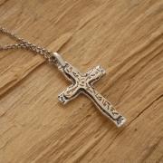 Χειροποίητος ασημόχρυσος σταυρός, διπλός ανδρικός ή γυναικείος σταυρός ST591