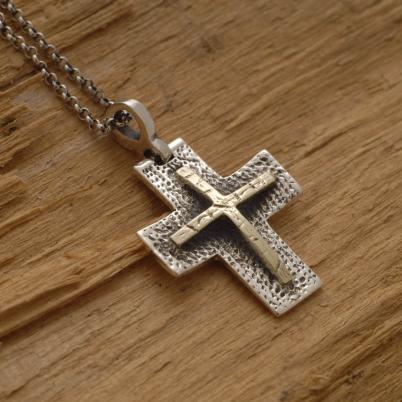 Χειροποίητος ανδρικός ασημόχρυσος σταυρός, διπλός, αρρενωπός σταυρός ST598