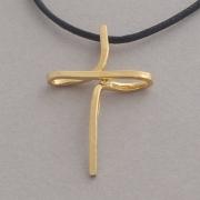 Χειροποίητος μοντέρνος γυναικείος σταυρός από ασήμι επιχρυσωμένο ST617x