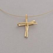 Χειροποίητος μοντέρνος γυναικείος σταυρός από ασήμι επιχρυσωμένο ST624x