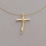 Χειροποίητος επίχρυσος γυναικείος σταυρός με μια αίσθηση κίνησης ST627