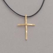 Χειροποίητος μίνιμαλ γυναικείος σταυρός, από ασήμι επιχρυσωμένο, με κορδόνι ST628x