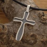 Oxidized Silver Cross Necklace, Modern Cross Pendant, Black Cross for Men or Women ST636