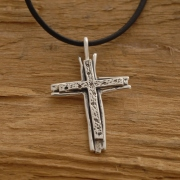 Sterling Silver Double Cross Νecklace, Unisex Religious Jewelry ST637