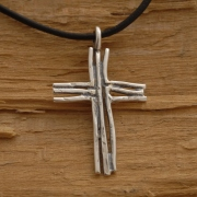 Rustic Sterling Silver Cross Necklace, Twig Cross Necklace ST638