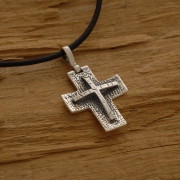 Silver Cross Necklace for Men or Women, on Leather Cord, Oxidized Sterling Silver Jewelry ST639