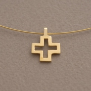 Small Gold Plated Silver Cross Pendant, Women's Necklace on Wire ST651x