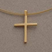 Χειροποίητος μίνιμαλ unisex σταυρός, από ασήμι επιχρυσωμένο, με ντίζα ST652x